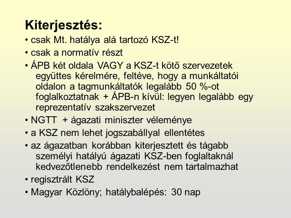 Kiterjesztés: csak Mt. hatálya alá tartozó KSZ-t.