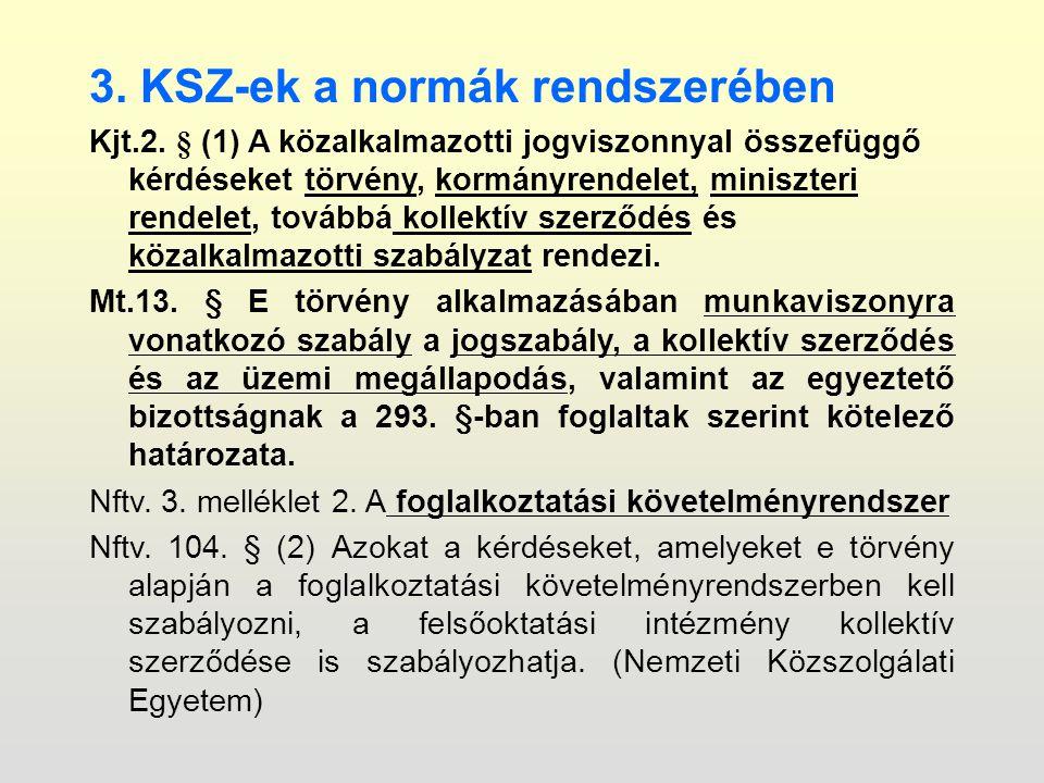 3. KSZ-ek a normák rendszerében Kjt.2.