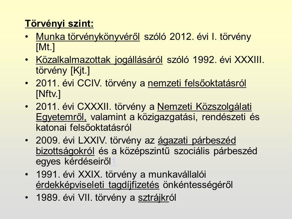 Törvényi szint: Munka törvénykönyvéről szóló 2012.