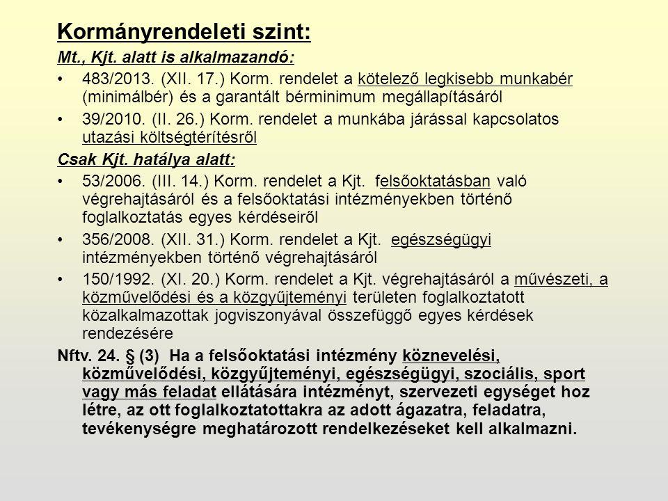 Kormányrendeleti szint: Mt., Kjt. alatt is alkalmazandó: 483/2013.