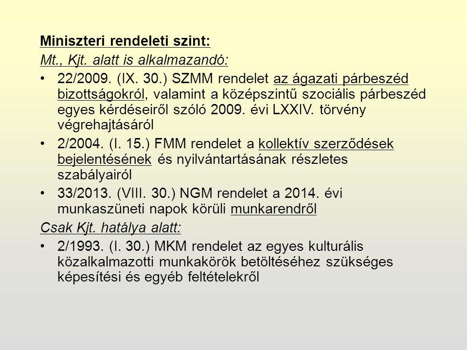 Miniszteri rendeleti szint: Mt., Kjt. alatt is alkalmazandó: 22/2009.
