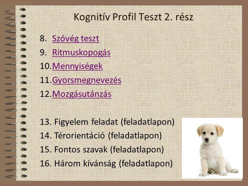 Kognitív Profil Teszt instrukció Kognitív Profil Teszt lap Kognitív Profil Teszt kiértékelés