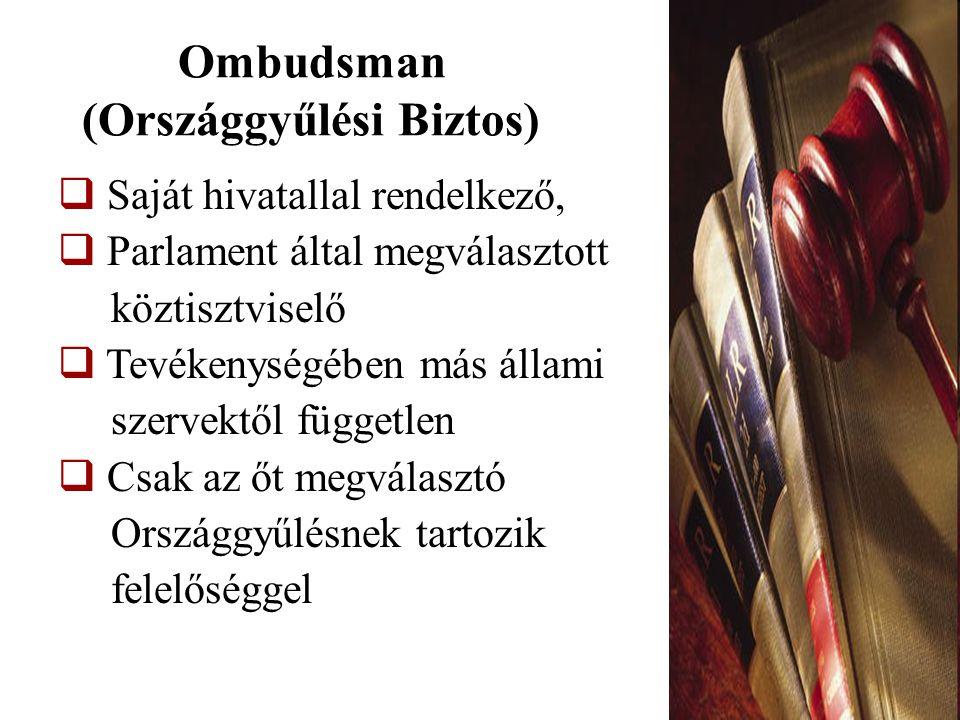 Ombudsman feladata  panasz alapján vizsgálat indítása  nem hozhat kötelező intézkedéseket  nem alkalmazhat jogi szankciókat