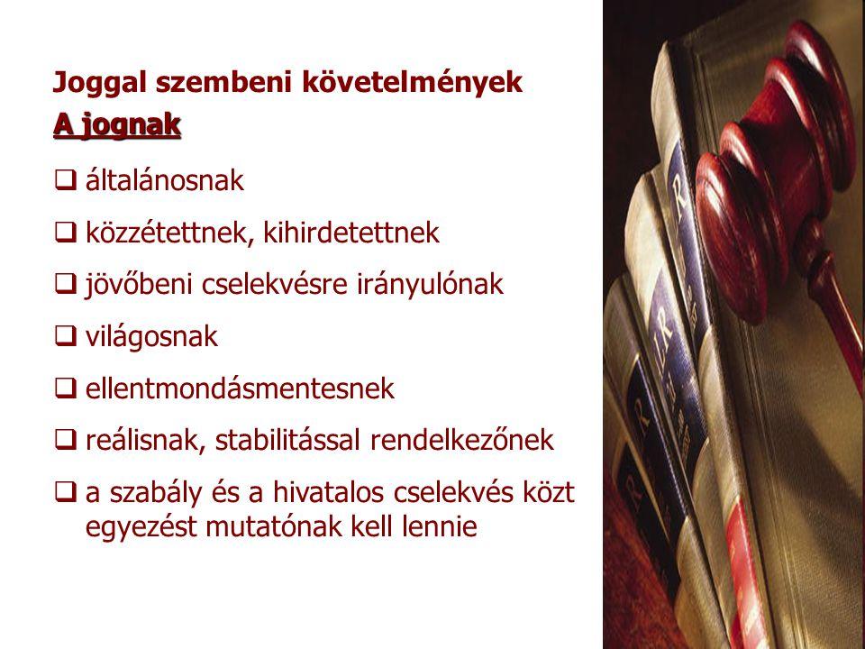 Jogalkotás: a szabályok létrehozása A jogalkotás szakaszai: előkészítéskibocsátáskihirdetés kezdeményezéselfogadásközzététel: a jogszabály kibocsátója pl.