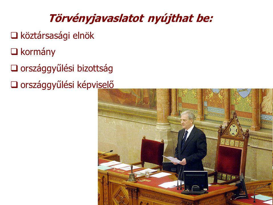 Törvényjavaslat  általános vita  részletes vita Elfogadás  Országgyűlés elnöke aláírja  Köztársasági elnök elé terjesztés  Magyar közlöny kihirdetés Köztársasági elnök Kifejezi a nemzet egységét, őrködik az államszervezet demokratikus működése felett, képviseli a Magyar Államot.