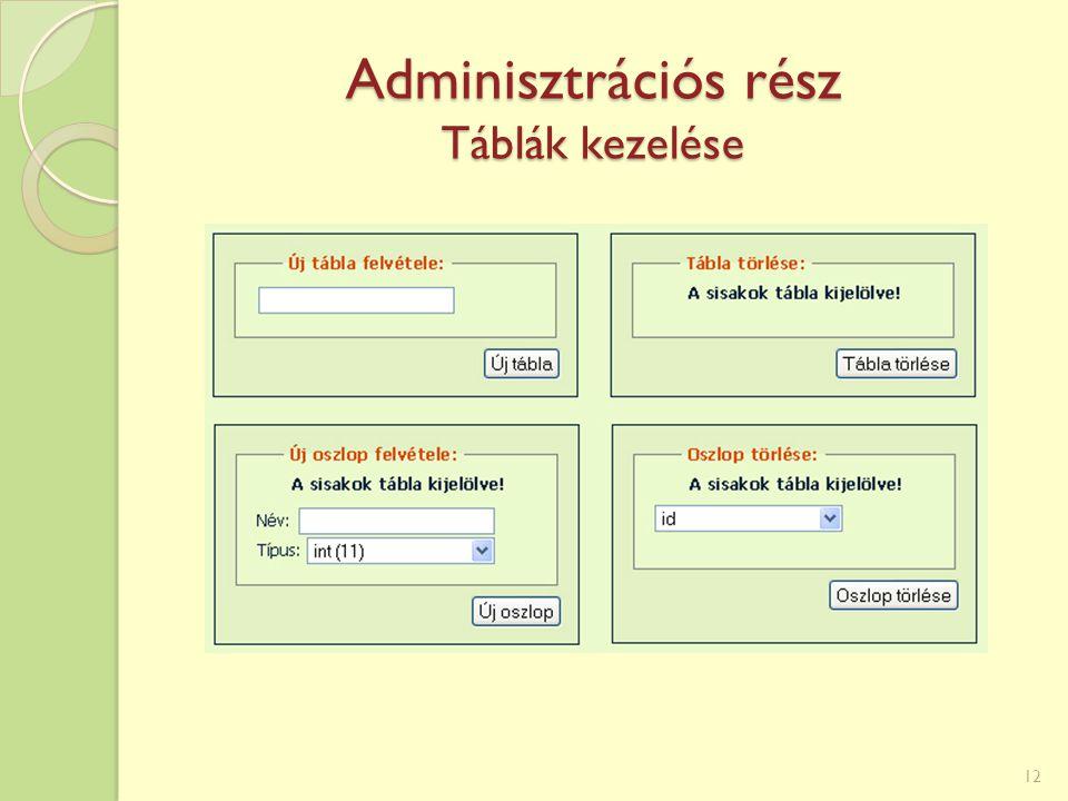 Adminisztrációs rész Táblák kezelése 12