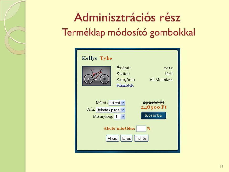 Adminisztrációs rész Terméklap módosító gombokkal 15