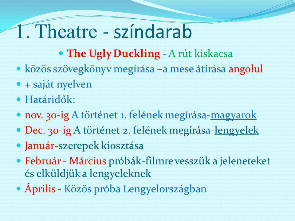1. Theatre - színdarab The Ugly Duckling - A rút kiskacsa közös szövegkönyv megírása –a mese átírása angolul + saját nyelven Határidők: nov. 30-ig A t