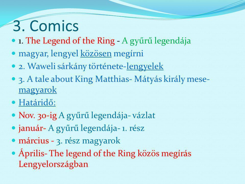 3. Comics 1. The Legend of the Ring - A gyűrű legendája magyar, lengyel közösen megírni 2.