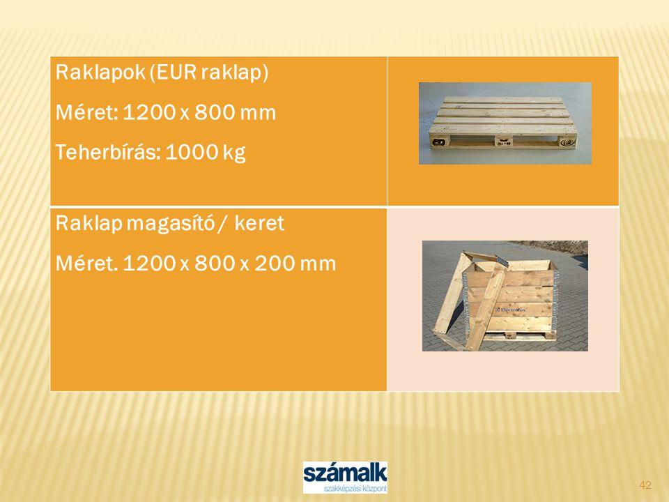 42 Raklapok (EUR raklap) Méret: 1200 x 800 mm Teherbírás: 1000 kg Raklap magasító / keret Méret. 1200 x 800 x 200 mm