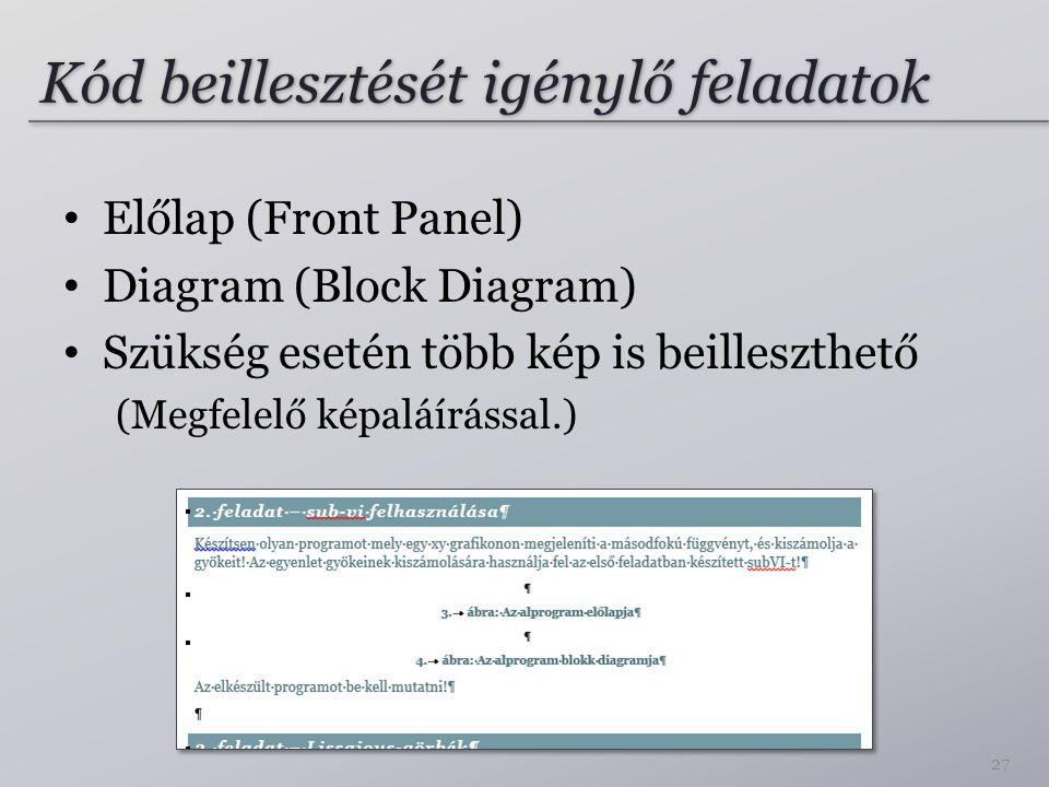 Kód beillesztését igénylő feladatok Előlap (Front Panel) Diagram (Block Diagram) Szükség esetén több kép is beilleszthető (Megfelelő képaláírással.) 2