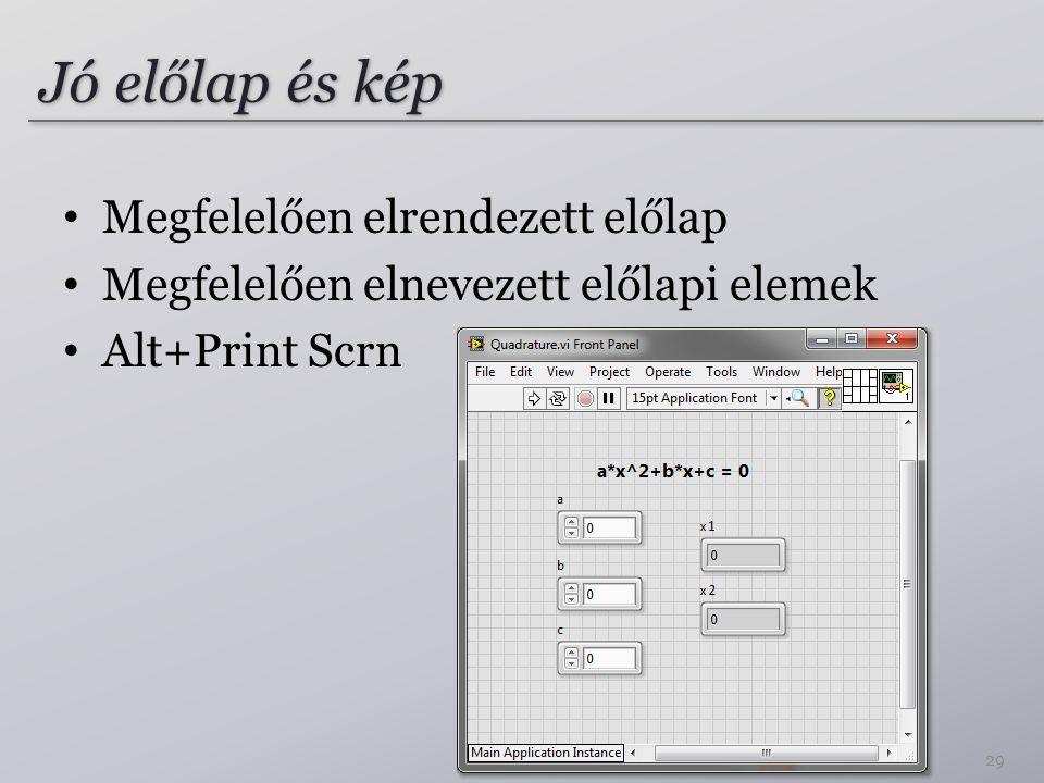Jó előlap és kép 29 Megfelelően elrendezett előlap Megfelelően elnevezett előlapi elemek Alt+Print Scrn