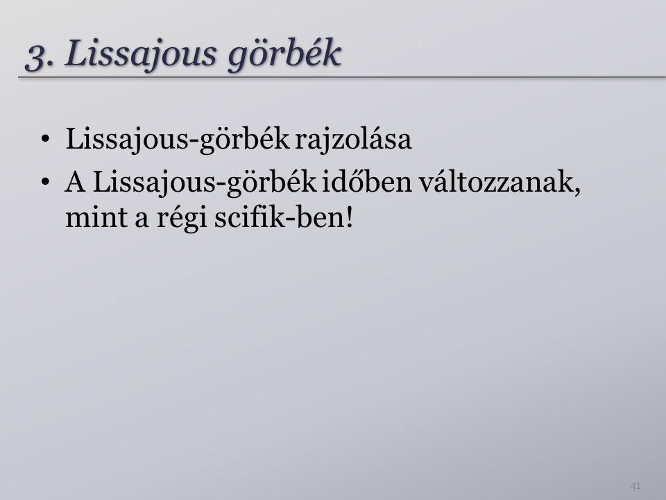 3. Lissajous görbék Lissajous-görbék rajzolása A Lissajous-görbék időben változzanak, mint a régi scifik-ben! 41