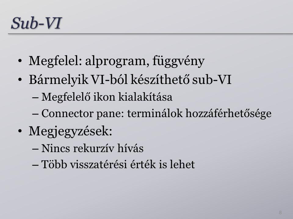 Sub-VISub-VI 8 Megfelel: alprogram, függvény Bármelyik VI-ból készíthető sub-VI – Megfelelő ikon kialakítása – Connector pane: terminálok hozzáférhető