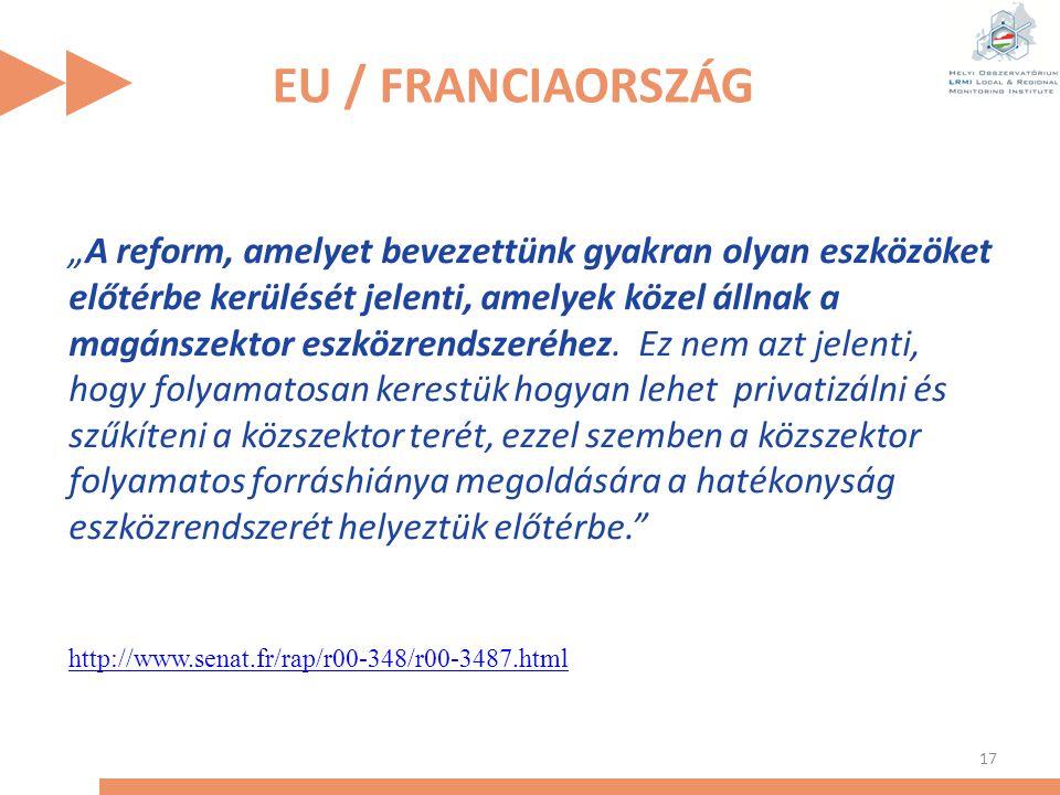 """EU / FRANCIAORSZÁG 17 """"A reform, amelyet bevezettünk gyakran olyan eszközöket előtérbe kerülését jelenti, amelyek közel állnak a magánszektor eszközre"""