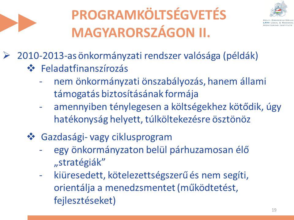 PROGRAMKÖLTSÉGVETÉS MAGYARORSZÁGON II. 19  2010-2013-as önkormányzati rendszer valósága (példák)  Feladatfinanszírozás -nem önkormányzati önszabályo