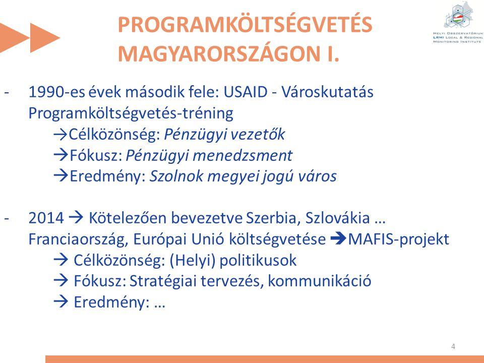 PROGRAMKÖLTSÉGVETÉS MAGYARORSZÁGON I. 4 -1990-es évek második fele: USAID - Városkutatás Programköltségvetés-tréning →Célközönség: Pénzügyi vezetők 
