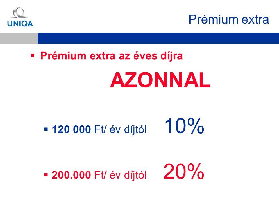  Prémium extra az éves díjra AZONNAL  120 000 Ft/ év díjtól 10%  200.000 Ft/ év díjtól 20% Prémium extra