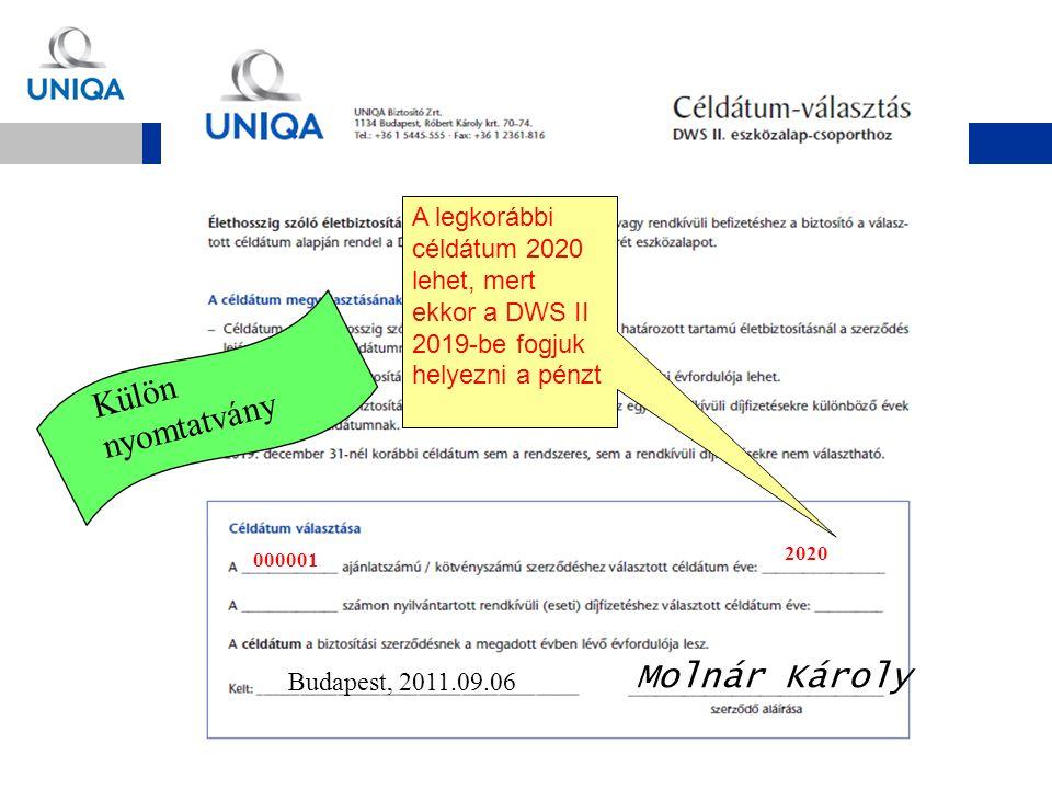 Budapest, 2011.09.06 Molnár Károly 000001 2020 A legkorábbi céldátum 2020 lehet, mert ekkor a DWS II 2019-be fogjuk helyezni a pénzt Külön nyomtatvány