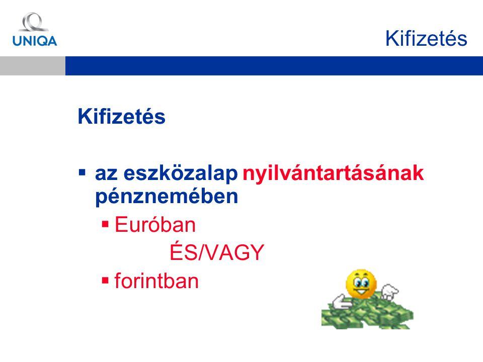 Kifizetés  az eszközalap nyilvántartásának pénznemében  Euróban ÉS/VAGY  forintban
