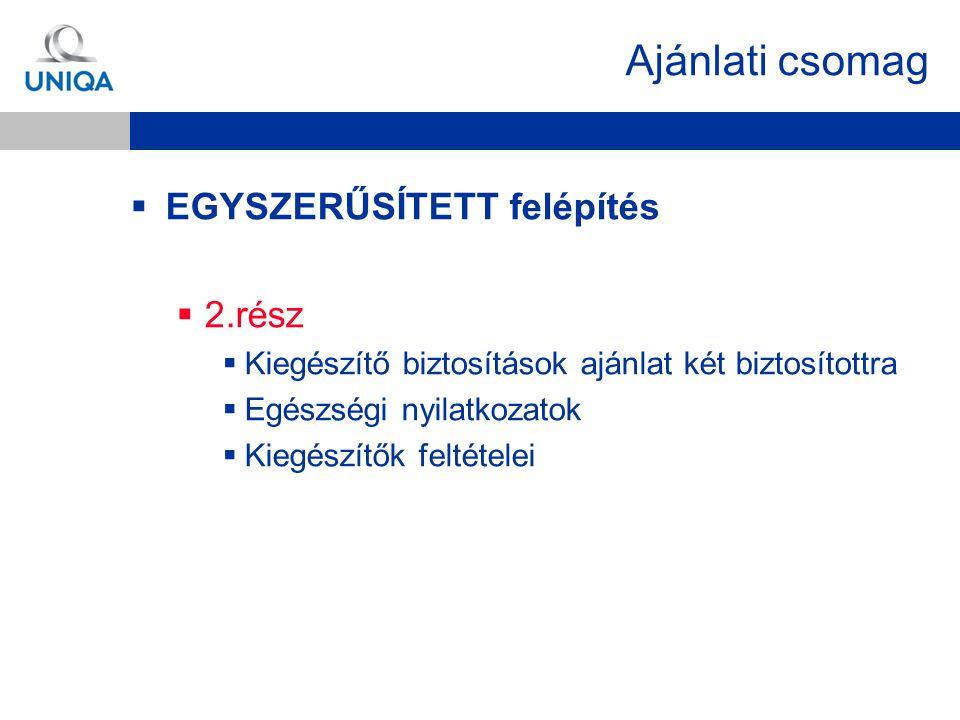 Ajánlati csomag  EGYSZERŰSÍTETT felépítés  2.rész  Kiegészítő biztosítások ajánlat két biztosítottra  Egészségi nyilatkozatok  Kiegészítők feltét