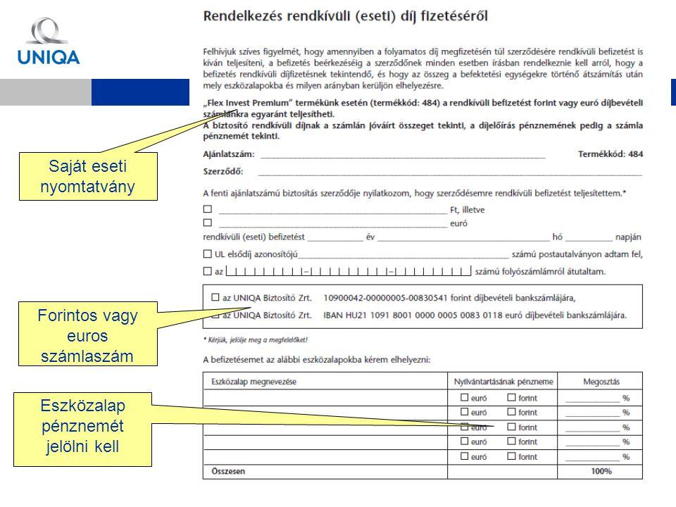 Saját eseti nyomtatvány Eszközalap pénznemét jelölni kell Forintos vagy euros számlaszám
