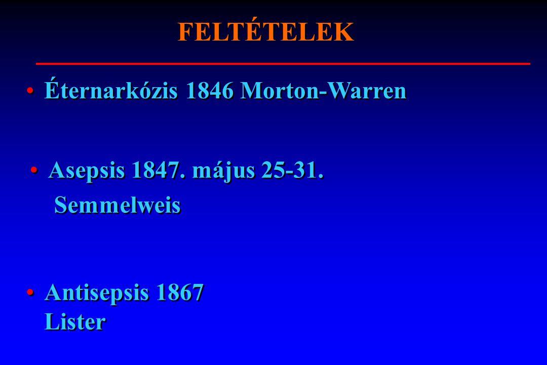 FELTÉTELEK Asepsis 1847. május 25-31. Semmelweis Asepsis 1847. május 25-31. Semmelweis Antisepsis 1867 Lister Éternarkózis 1846 Morton-Warren
