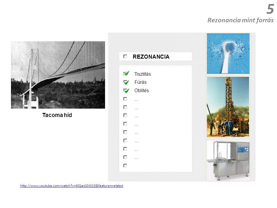 5 http://www.youtube.com/watch v=9lQaIdDI5OE&feature=related Rezonancia mint forrás REZONANCIA Tisztítás Fúrás Öblítés … Tacoma híd