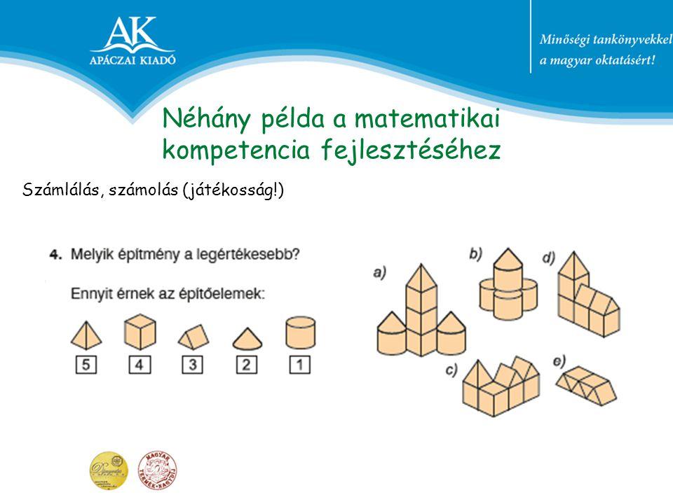 Néhány példa a matematikai kompetencia fejlesztéséhez Számlálás, számolás (játékosság!)