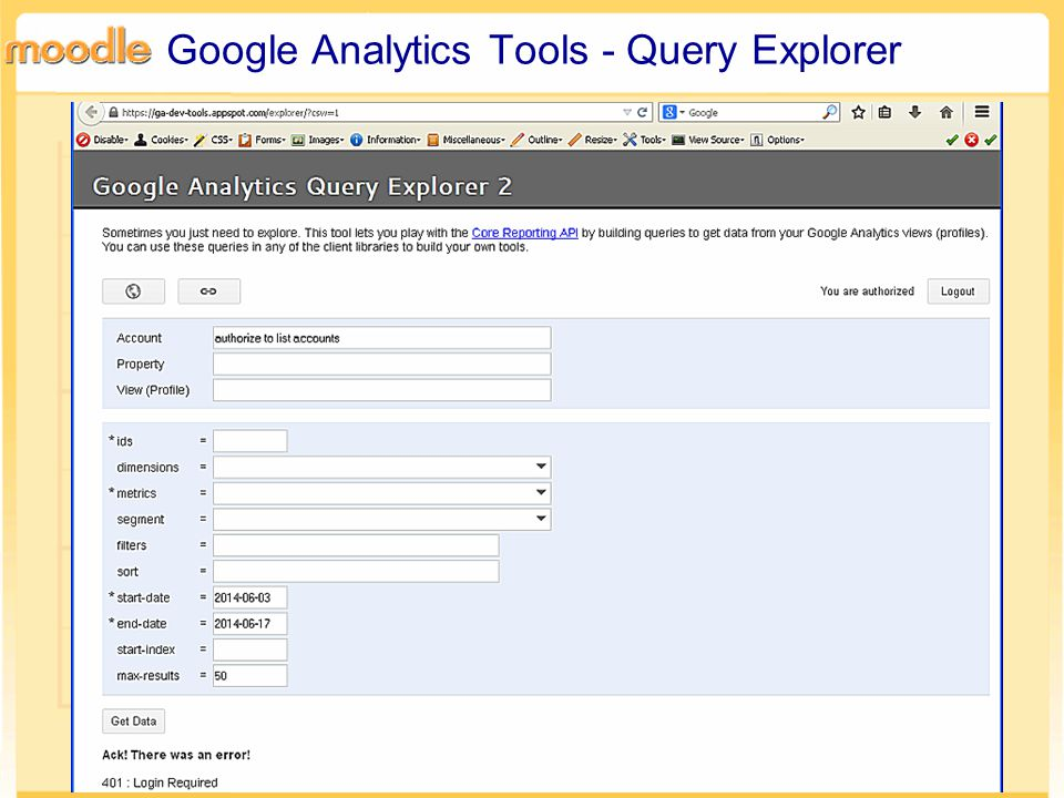 Google Analytics Tools - Query Explorer