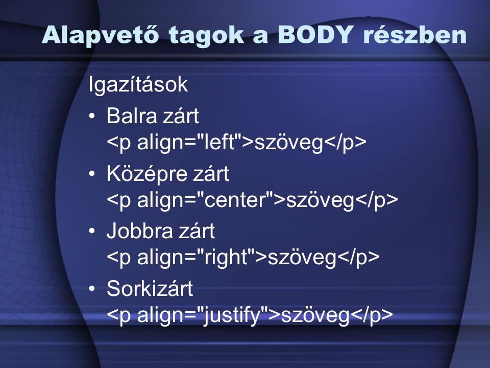 Igazítások Balra zárt szöveg Középre zárt szöveg Jobbra zárt szöveg Sorkizárt szöveg