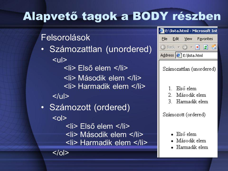 Alapvető tagok a BODY részben Felsorolások Számozattlan (unordered) Első elem Második elem Harmadik elem Számozott (ordered) Első elem Második elem Ha