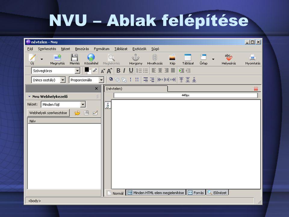 NVU – Ablak felépítése