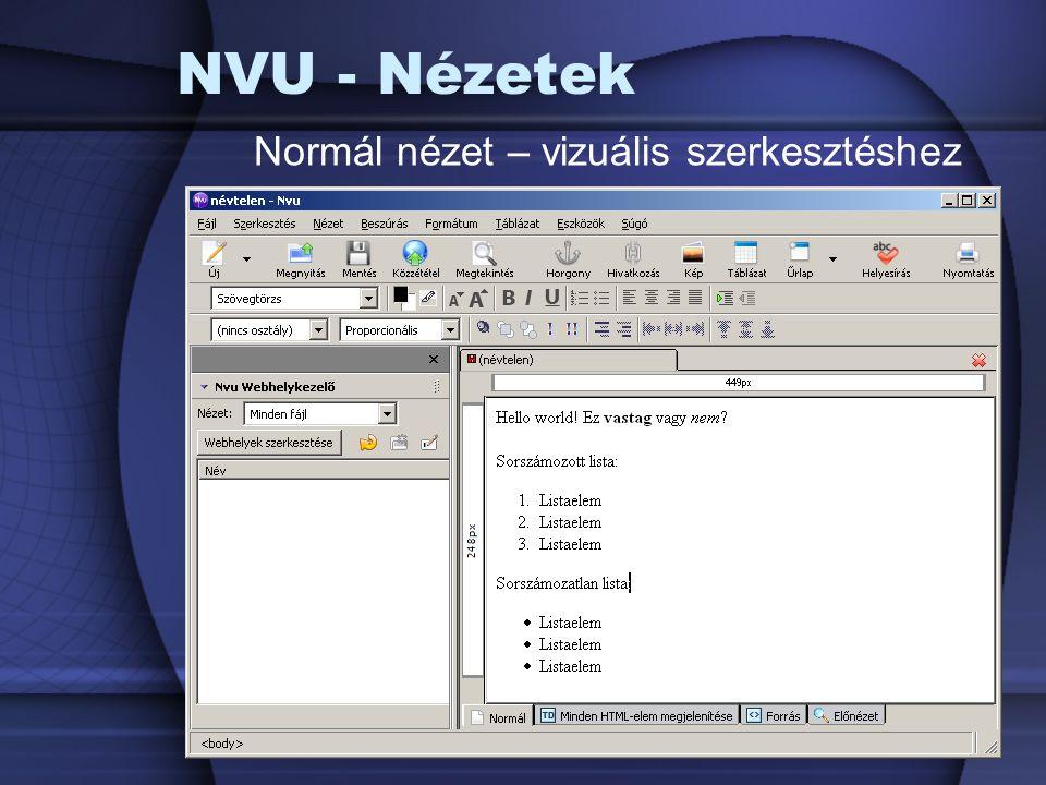 NVU - Nézetek Normál nézet – vizuális szerkesztéshez