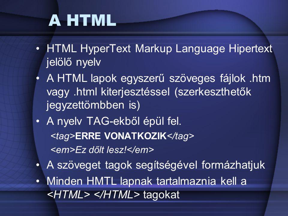 A HTML HTML HyperText Markup Language Hipertext jelölő nyelv A HTML lapok egyszerű szöveges fájlok.htm vagy.html kiterjesztéssel (szerkeszthetők jegyz
