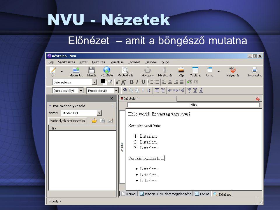NVU - Nézetek Előnézet – amit a böngésző mutatna