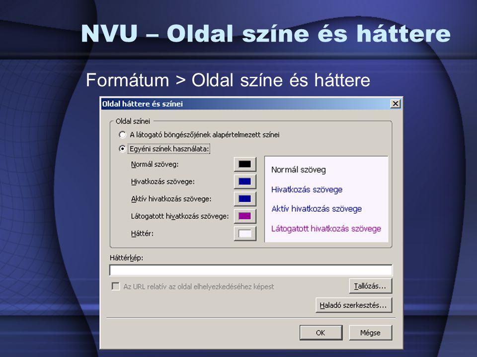 NVU – Oldal színe és háttere Formátum > Oldal színe és háttere