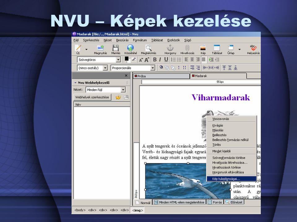NVU – Képek kezelése