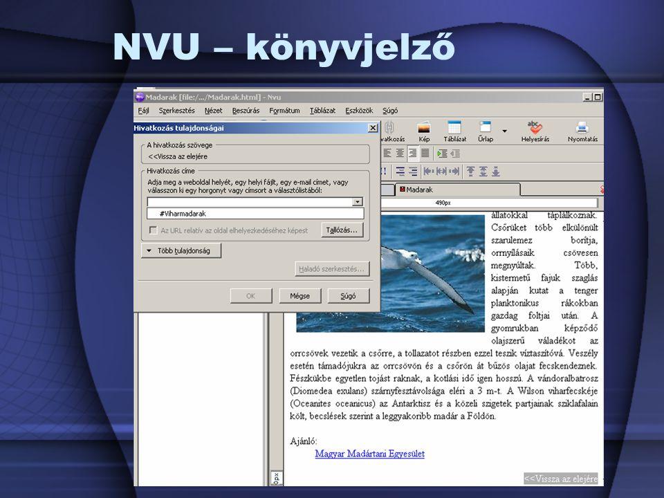 NVU – könyvjelző