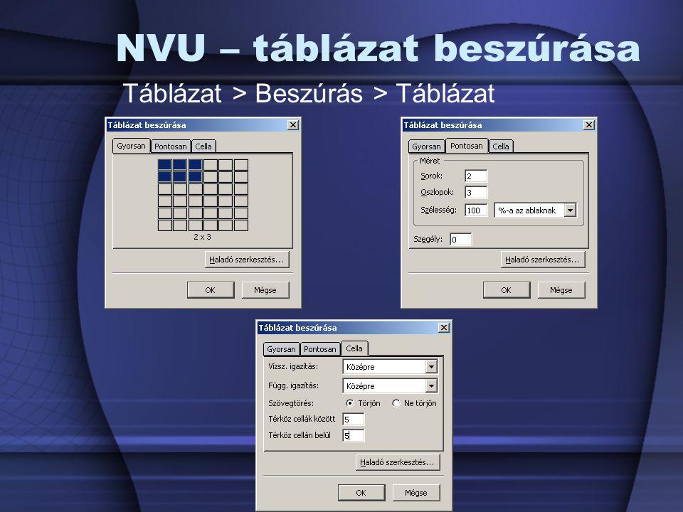NVU – táblázat beszúrása Táblázat > Beszúrás > Táblázat
