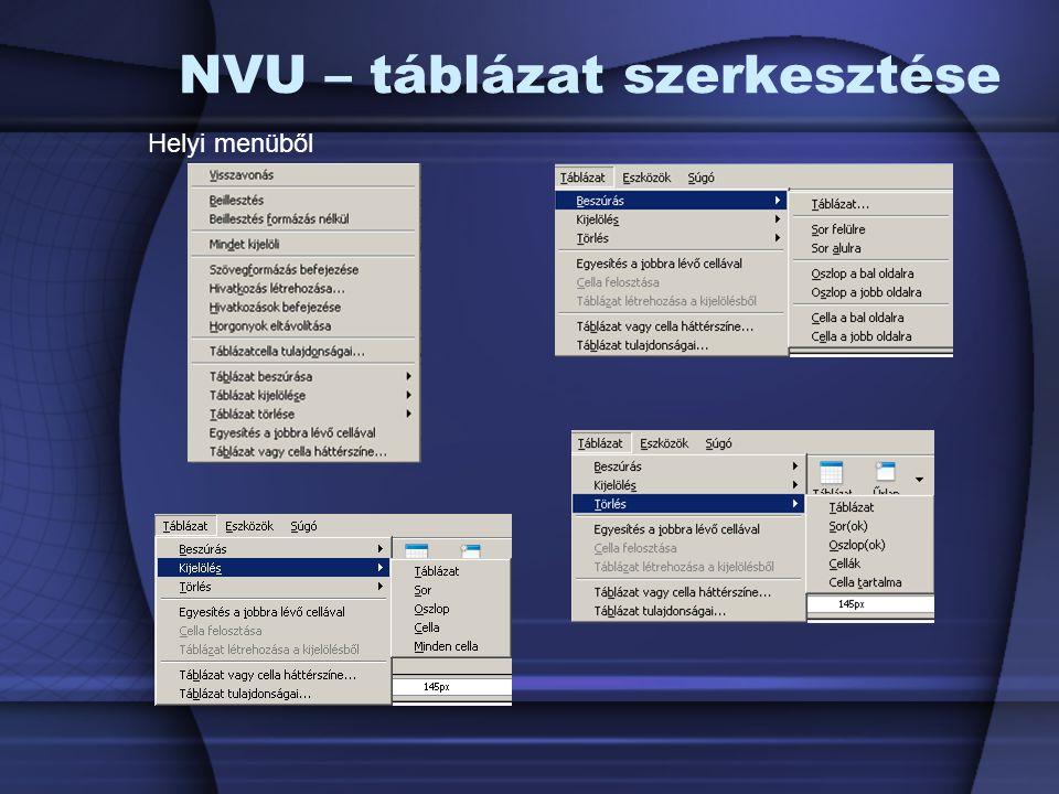 NVU – táblázat szerkesztése Helyi menüből