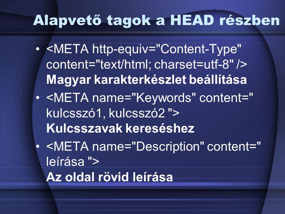 Alapvető tagok a HEAD részben Magyar karakterkészlet beállítása Kulcsszavak kereséshez Az oldal rövid leírása