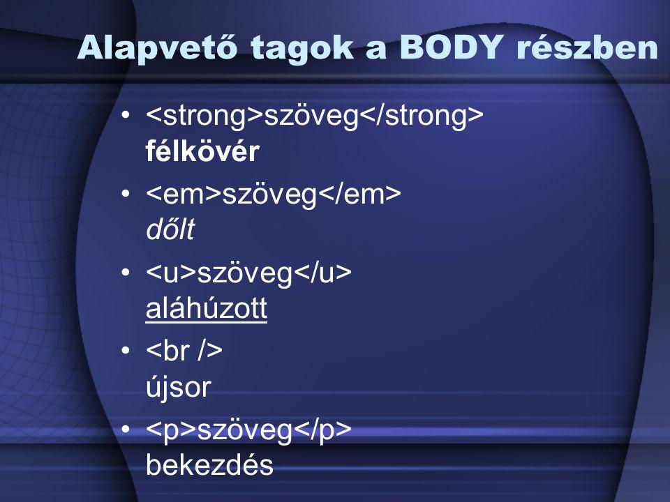 Alapvető tagok a BODY részben szöveg félkövér szöveg dőlt szöveg aláhúzott újsor szöveg bekezdés