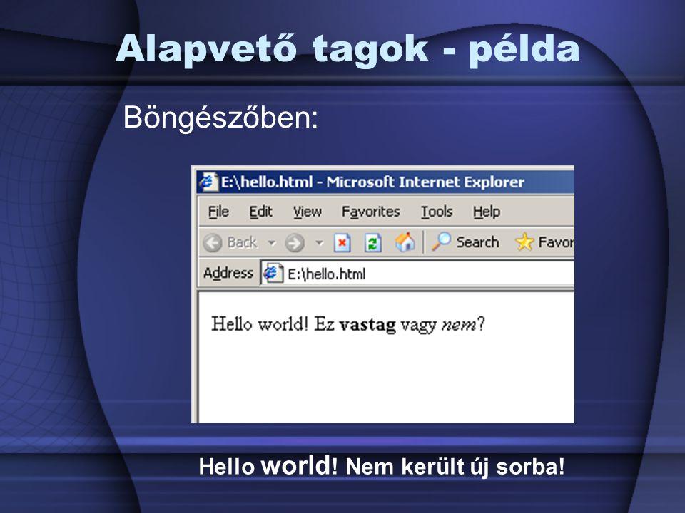 Alapvető tagok - példa Böngészőben: Hello world ! Nem került új sorba!