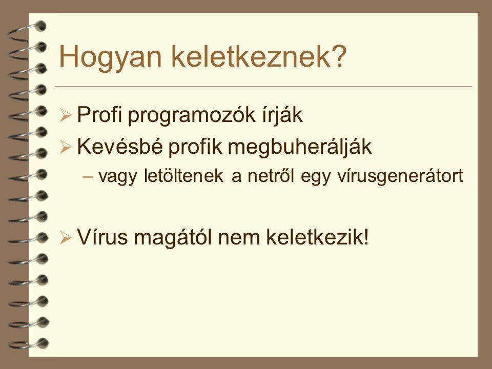 Hogyan keletkeznek?  Profi programozók írják  Kevésbé profik megbuherálják –vagy letöltenek a netről egy vírusgenerátort  Vírus magától nem keletke