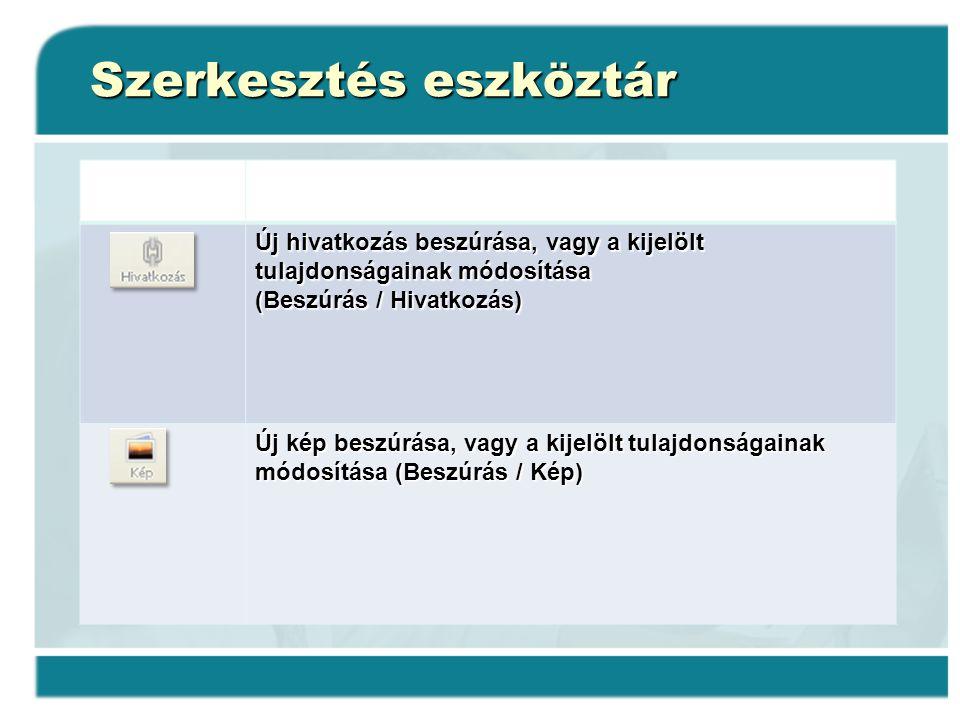 Szerkesztés eszköztár Új hivatkozás beszúrása, vagy a kijelölt tulajdonságainak módosítása (Beszúrás / Hivatkozás) (Beszúrás / Hivatkozás) Új kép besz