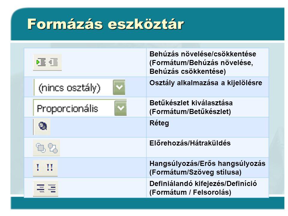 Formázás eszköztár Behúzás növelése/csökkentése (Formátum/Behúzás növelése, Behúzás csökkentése) Osztály alkalmazása a kijelölésre Betűkészlet kiválas