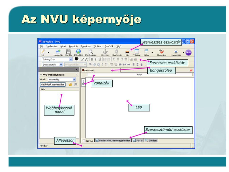 Az NVU képernyője