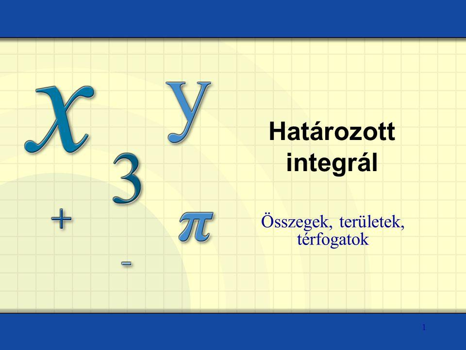 Határozott integrál Összegek, területek, térfogatok 1