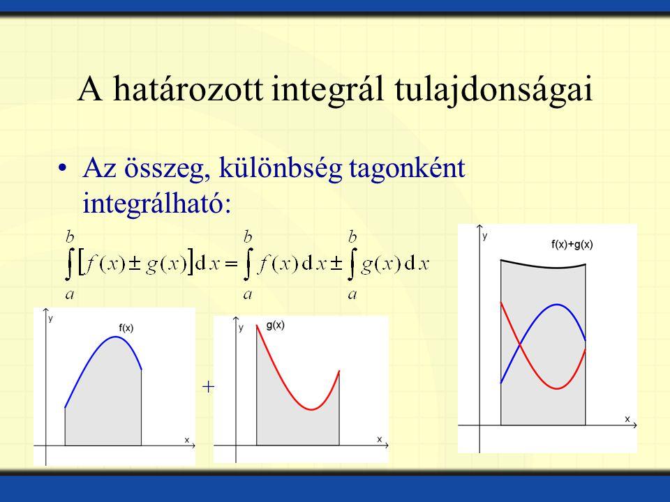 A határozott integrál tulajdonságai Az összeg, különbség tagonként integrálható: +